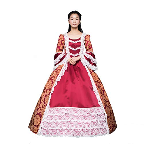 Renaissance Queen Elizabeth I/Tudor Gothic Jacquard Fantasy Dress Game of Thrones Gown Halloween Costumes (3XL, Red1)