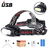 Led Headlamp Flashlight, Haofy USB Rechargeable Headlamp with 8 Modes, 360 Adjustable Work Light T6+COB Waterproof Led Head Light for Outdoor Night Camping Working Emergency Outdoors