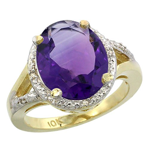 14K Yellow Gold Natural Amethyst Ring Oval 12x10mm Diamond Accent, size 10