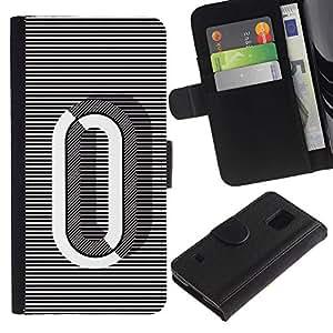 Paccase / Billetera de Cuero Caso del tirón Titular de la tarjeta Carcasa Funda para - 0 Lines Black White O Zero Nothing - Samsung Galaxy S5 V SM-G900
