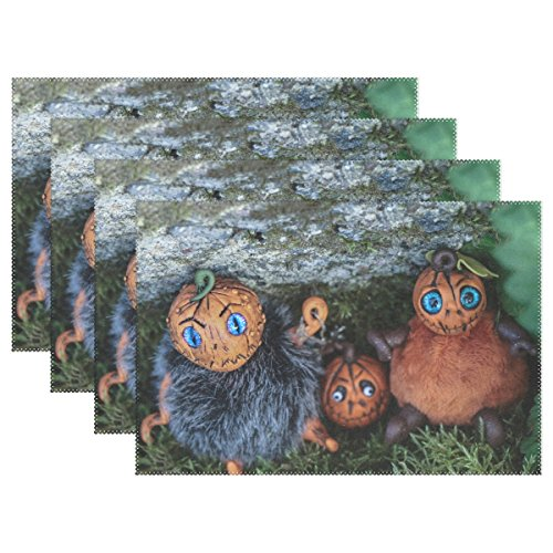 ENEVOTX Halloween Pumpkin Figures Autumn Fall Spooky Placemats Set Of 4 Heat Insulation Stain Resistant For Dining Table Durable Non-slip Kitchen Table Place Mats -