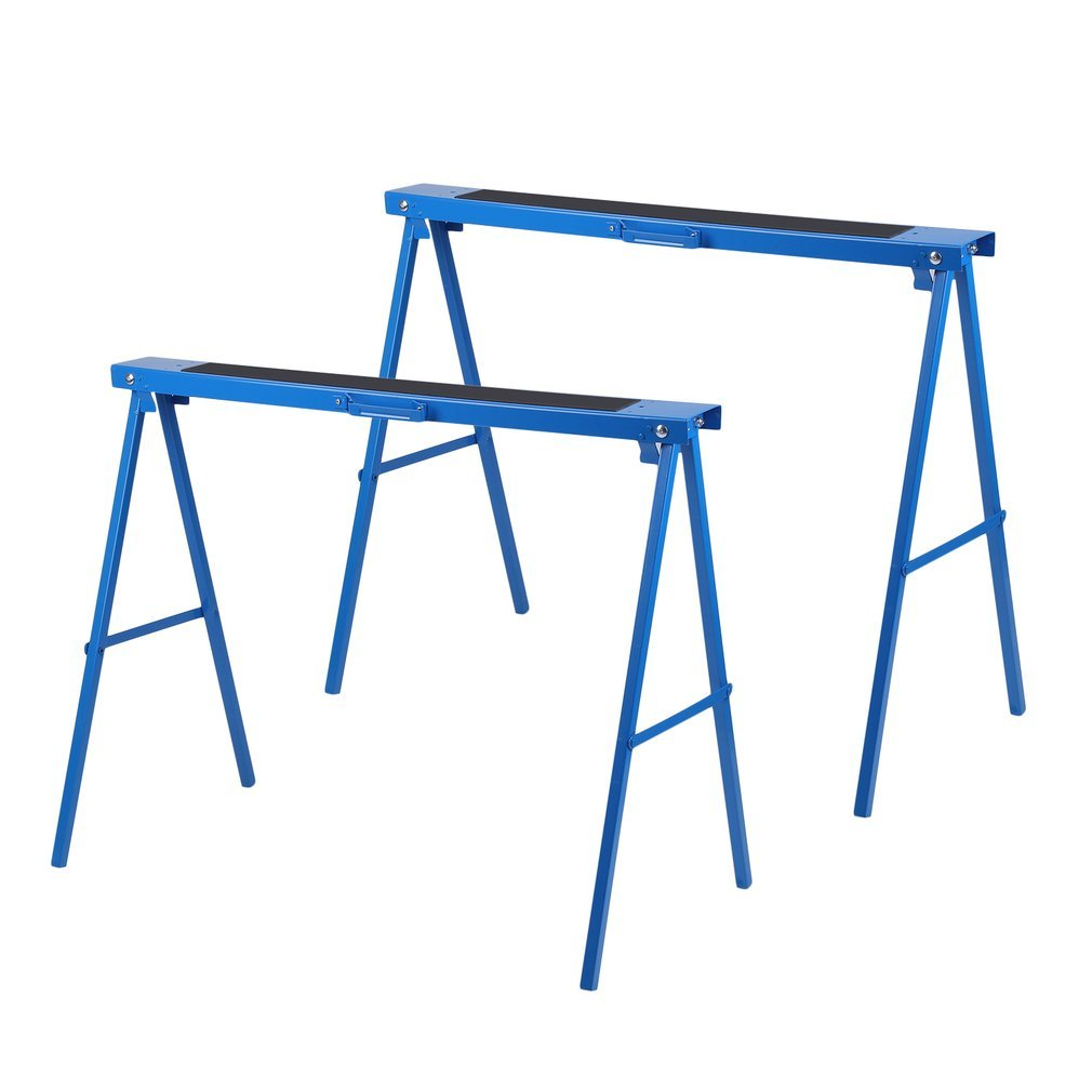 All Steel 39inch Folding Sawhorse by Coldcedar, Heavy Duty Portable Saw Horses: Height Adjustable, Fully Assembled 250 lb Weight Capacity Each and Quickly Folds Up for Easy Storage, Pack of 2