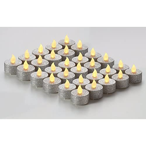 Brightpik Premium Flameless Candles - Set of 30 LED Battery Operated Tea Lights - Silver Glitter for cheap