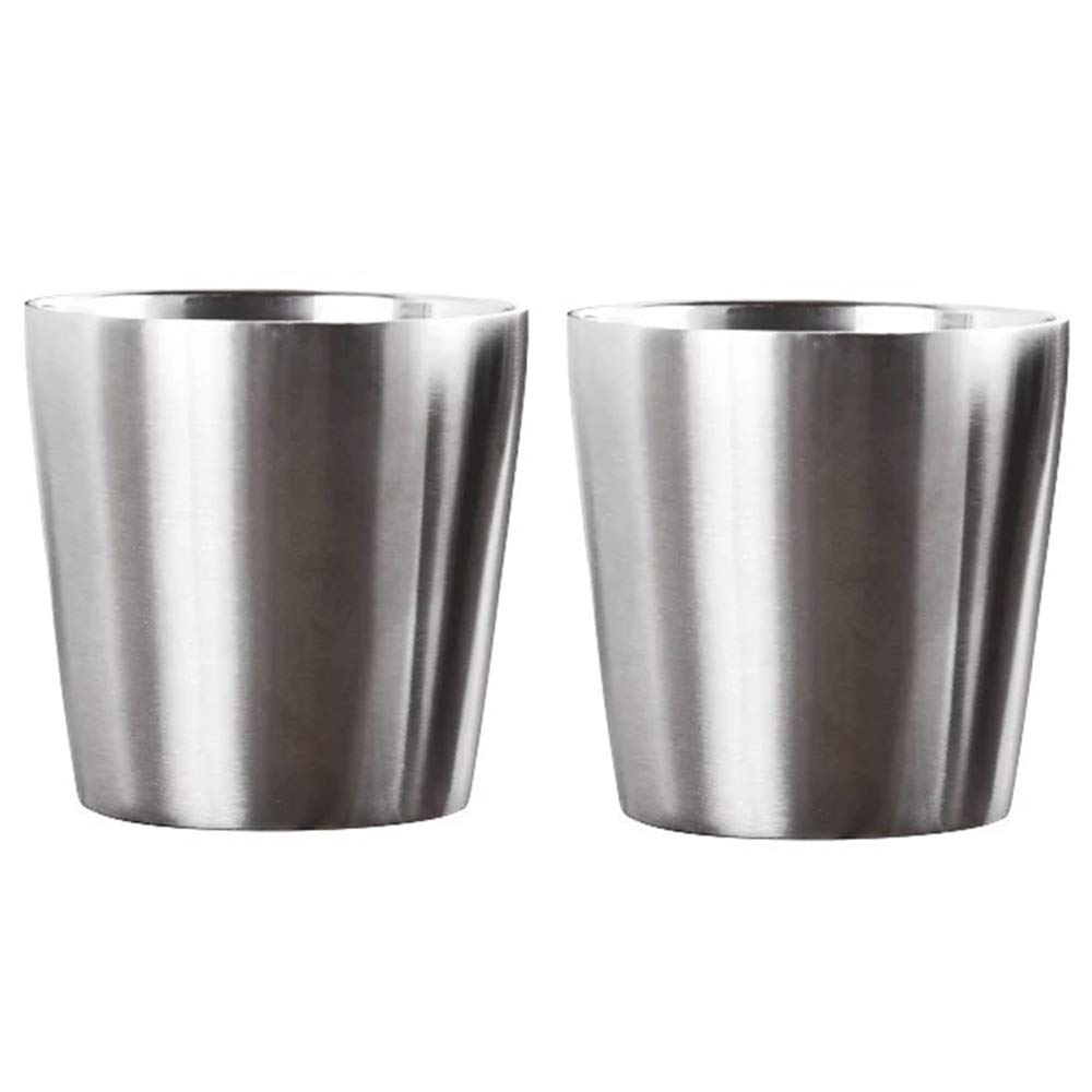 Espresso Cups Coffee Mug - Set of 2 Double Walled 5.5 Ounce Stainless Steel Tea Cups Coffee Glasses
