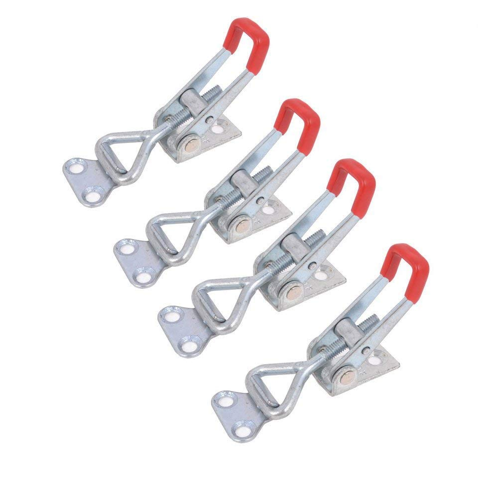 4Pcs Metal Toggle Clamp Pull Action Quick Release Latch 4001 100KG/220lbs Holding Capacity Latch Button Toggle Latch Langdy