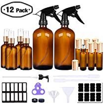 PrettyCare Glass Spray Bottle and Essential Oils Roller Bottles Set Amber ( 16 oz * 2 + 2 oz * 4 + 10ml *6 with Golden Caps, Labels, Funnels, Eye Dropper) Small Fine Mist Sprayer Bottles and Roll on Bottle, Refillable Container for Cleaning Products orAromatherapy