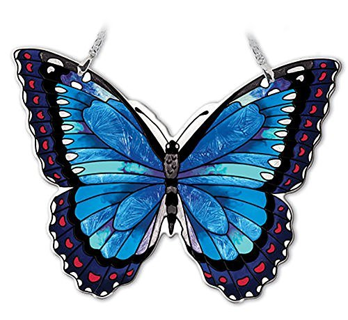 Amia Hand-Painted Glass Butterfly Suncatcher - Blue Morpho -