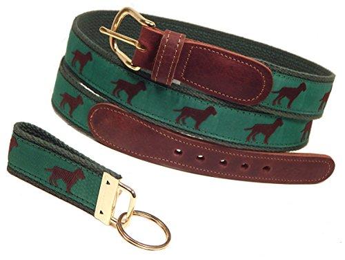 Preston Leather Chocolate Dog Belt, Green, Sizes 30 to 50, FREE Matching Key Ring (Size 34) (Preston Chocolate)