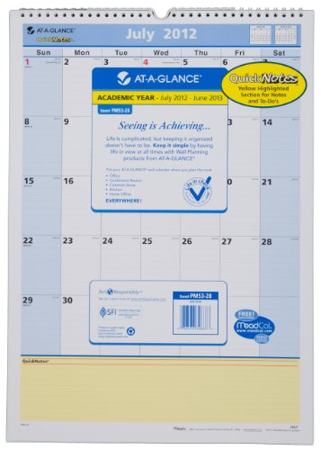 View 2012 Wall Calendar - AT-A-GLANCE QuickNotes Recycled Monthly Wall Calendar, 12-Inch x 17-Inch, Blue/Yellow, 2012/2013 (PM53-28)