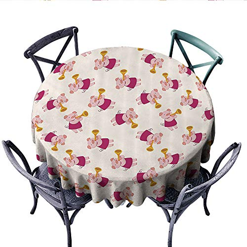 Pig Decor Collection Patterned Tablecloth Pig Playing Trumpet Animal Musicians Band Joke and Cheerful Design Waterproof Table Cover for Kitchen (Round, 60 Inch, Magenta Salmon)