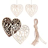 Tinksky Heart Wooden Embellishments Crafts Hanging Ornament for Wedding Valentine's Day gift DIY, Pack of 10