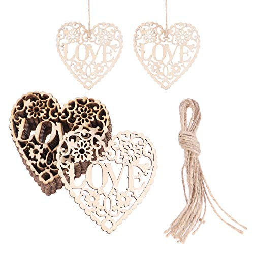 Tinksky Heart Wooden Embellishments Crafts Hanging Ornament for Wedding Valentine