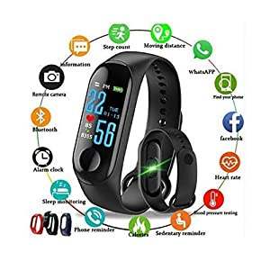 The Great India Sales Intelligence Bluetooth Health Monitor M3 Fitness Band Compatible for All Androids and iOS Phone/Tablet (Black)