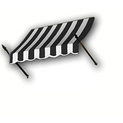 black image awning on photo background white isolate and stock striped