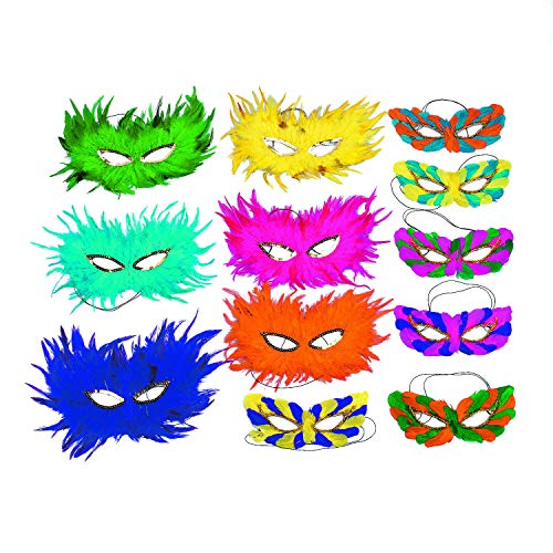 Fun Express Feather Masquerade Mask Assortment - Pack of 12 Assorted Styles and Colors -