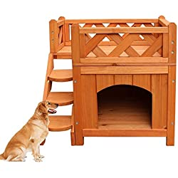 Confidence Pet Wooden Dog House / Kennel with Balcony 2 Layers Wood Color