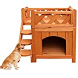 Confidence Pet Wooden Dog House Kennel with Balcony 2 Layers Wood Color
