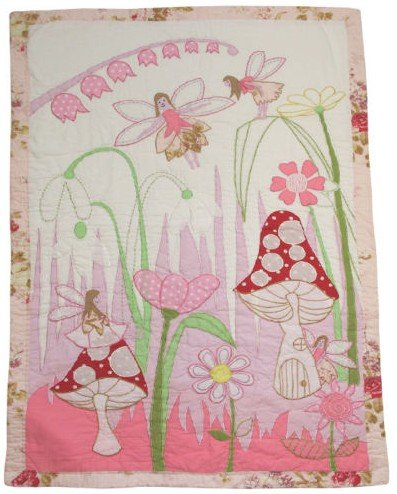 Powell Craft Fairies Cot Crib Quilt Pink 76 x 107 Cm by Powell Craft