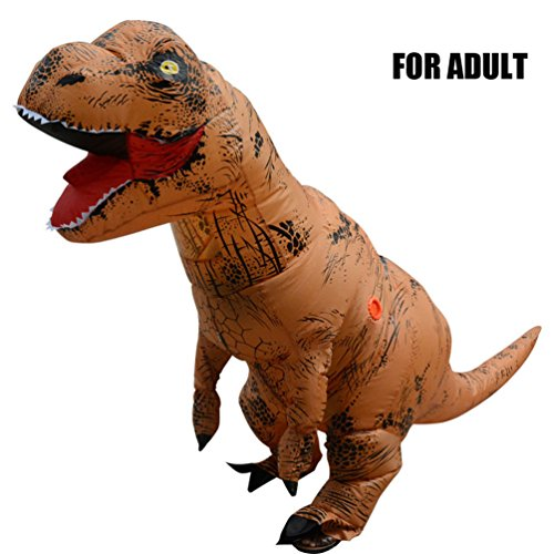 SINMOO Adult T-Rex Dinosaur Inflatable Costume T-Rex Costume Adult Size -Blow up T-Rex Dino Large with 2 Fan Blowers (Brown)