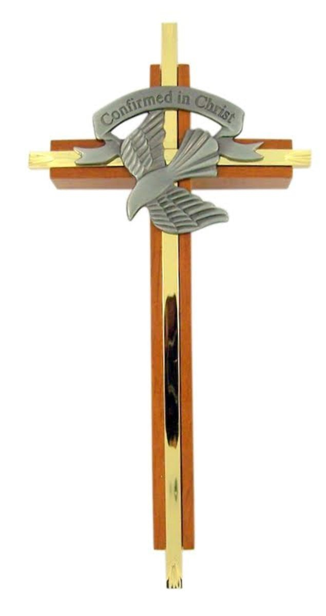 singer star case Confirmed in Christ Wood and Brass Confirmation Wall Cross with Pewter Holy Dove, 7 Inch