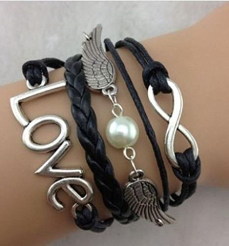 Price comparison product image iVan Boys / Girls Leather Metal Bracelet Multilayer Braided Friendship Love Wings Beads Charm Bracelets