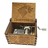 FORUSKY Mechanism Hand Cranking Carved Melody Game of Thrones Wooden Music Box for Home Decoration Crafts,Toys,Gift