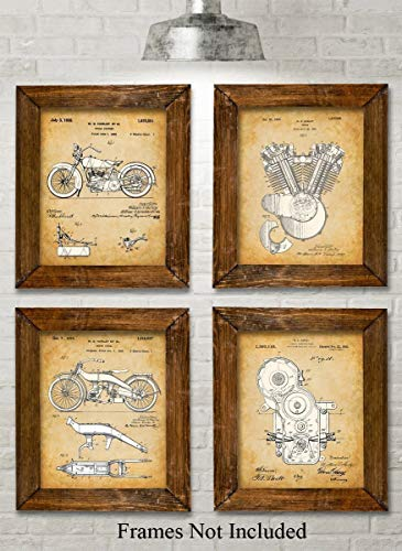 Original Harley Davidson Patent Art Prints - Set of Four Photos (8x10) Unframed - Great Gift for Hog Riders
