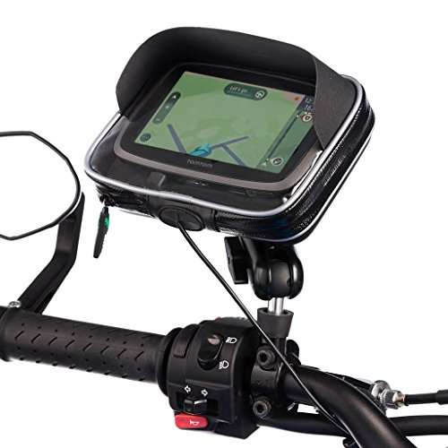cycle M10 Pitch Mirror Mount + Water Resistant GPS Large Case Tomtom Go Via Start Series (Ultimate Gps Case)