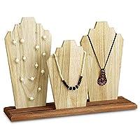 MOOCA Wooden Necklace Holder Jewelry Display Bust Stand Wood Jewelry Necklace Stands Necklace Organizer Necklace Bust Stands Wood Jewelry Holder Display