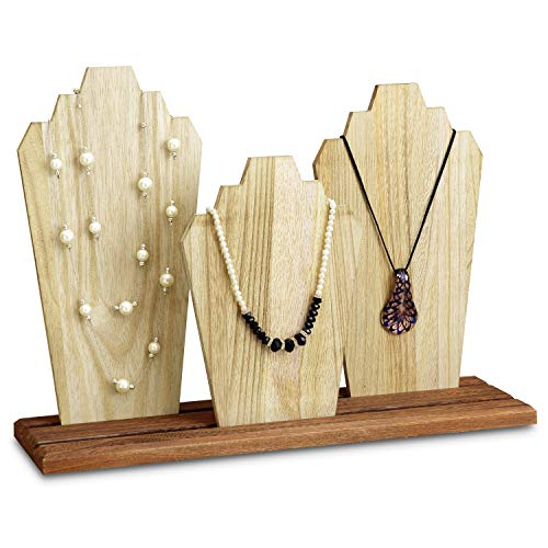 MOOCA Wooden Necklace Holder Jewelry Display Bust Stand Wood Jewelry Necklace Stands Necklace Organizer Necklace Bust Stands Wood Jewelry Holder Display (Jewelry Wooden Stand)
