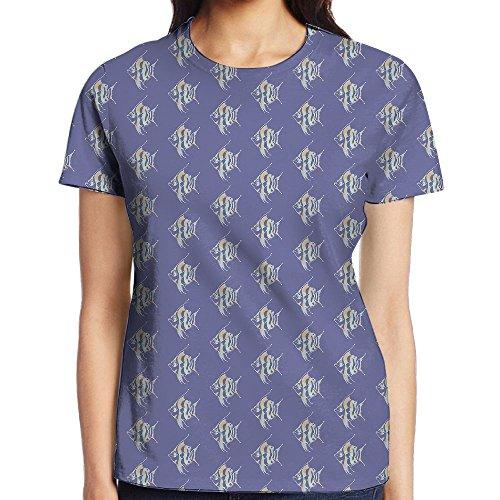 NavyLife Women's Tropical Fish Bone Casual Crew Neck Baseball Tee Short Sleeves T-Shirt Slim Fit Sports - Brooke Davis Style