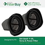 FilterBuy 2 - Dirt Devil F25 F-25 Dust Cup Allergen Filters. Designed by to Replace Part #'s 2SV1102000 & 3SV0980000.