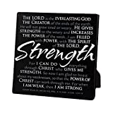 Lighthouse Christian Products Strength Plaque, 5 5/8 x 5 5/8'', Black