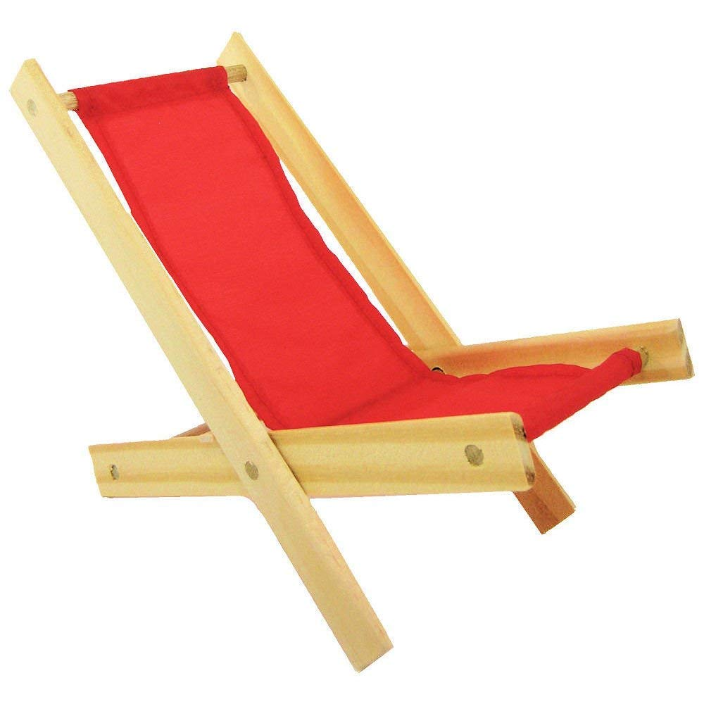 Wooden Toy Folding Lawn Chair, Red Fabric for Dolls, Stuffed Animals, Action Figures