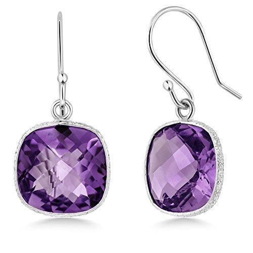 Gem Stone King Sterling Silver Amethyst Cushion Checkerboard Women's Dangle Earrings (10.00 cttw, ()