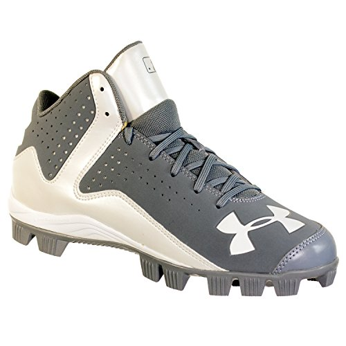 Under Armour Kids Unisex UA Leadoff Mid Baseball (Toddler/Little Kid/Big Kid) Steel/White Sneaker 1.5 Little Kid M