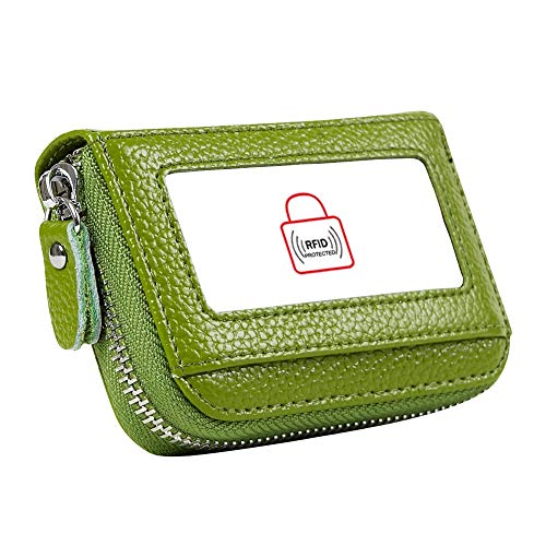 - Women's RFID Blocking 12 Slots Credit Card Holder Leather Accordion Wallet,green