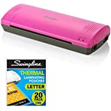 """Swingline Laminator, Thermal, Inspire Plus Lamination Machine, 9"""" Max Width, Quick Warm-up, Includes 20 Laminating Pouches, Grey/Pink"""