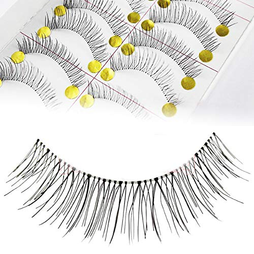 Adecco LLC 50 Pairs Natural Look Taiwan Handmade Fake False Eyelashes Eye Lashes Transparent Stem Classical Eyelashes ()