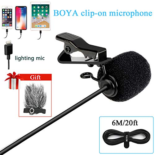 BOYA DM1 Lavalier Microphone Lapel Clip-on Mic with Lightning Connector Compatible with iOS iPhone X 8 7 6 Plus iPad iPod Nano Touch Using for YouTube, Interview, Podcast, Speech, Conference, Vlog ()