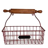 NIKKY HOME Decorative Wall Mounted Hanging Metal Wire Mesh Storage Basket with Rolling Pin, Red