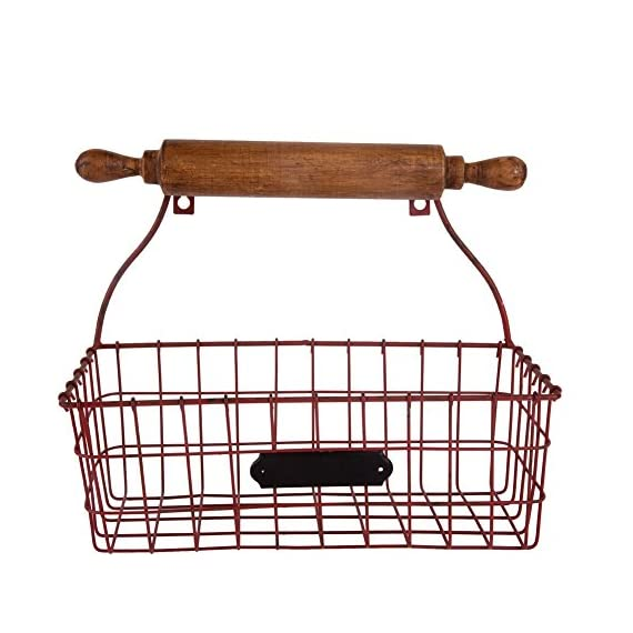 NIKKY HOME Decorative Wall Mounted Hanging Metal Wire Mesh Storage Basket with Rolling Pin, Red - Made of metal and wood with a distressed red finish Measures approx.12-1/4x5-3/8x10-1/4;Color: red Decorative, versatile storage basket with a wooden rolling pin design, needs 2 screws for hanging - wall-shelves, living-room-furniture, living-room - 51QRmCNyBaL. SS570  -