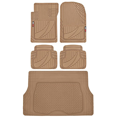 FlexTough Advanced Performance Liners - 5pc HD Rubber Floor Mats & Cargo Liner for Car SUV Auto (Volvo Trunk Mat)