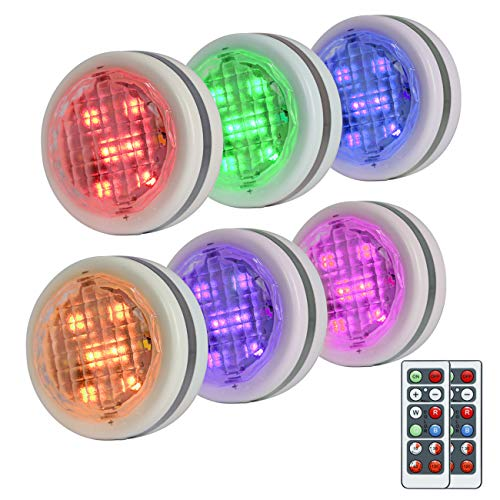 Sunyel RGBW Under Cabinet Light Set, Color Changing and Battery Powered LED Puck Light W/Remotes (6 Pack)