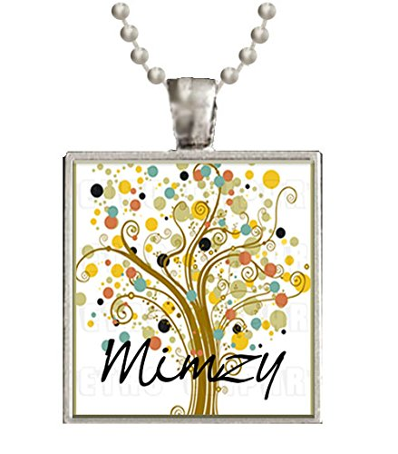 Mimzy Grandmother Tree of Life Glass Tile Black Pendant Necklace W/chain