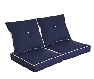 Bossima Patio Furniture Cushions for Deep Seat and Loveseat, Outdoor Water Repellent Fabric, High Back Design, Navy Blue