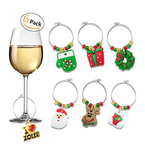 "Zolee Wine Glass Charms, Set of 6 ""Christmas Theme"" Soft PVC with Simple Buckle Design - Glass Goblet Drink Markers, for Party Favors Decoration and Supplies"