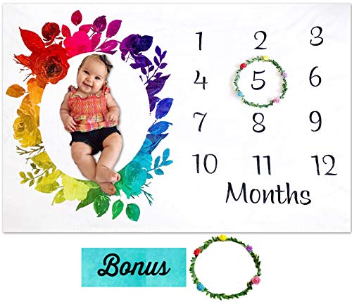 Rainbow Baby Monthly Milestone Blanket by Storky   Girl or Boy Photography Background Prop   Bonus Floral Flower Wreath   Newborn to 12 Months   Baby Shower Gift   Baby Registry Watch Me Grow