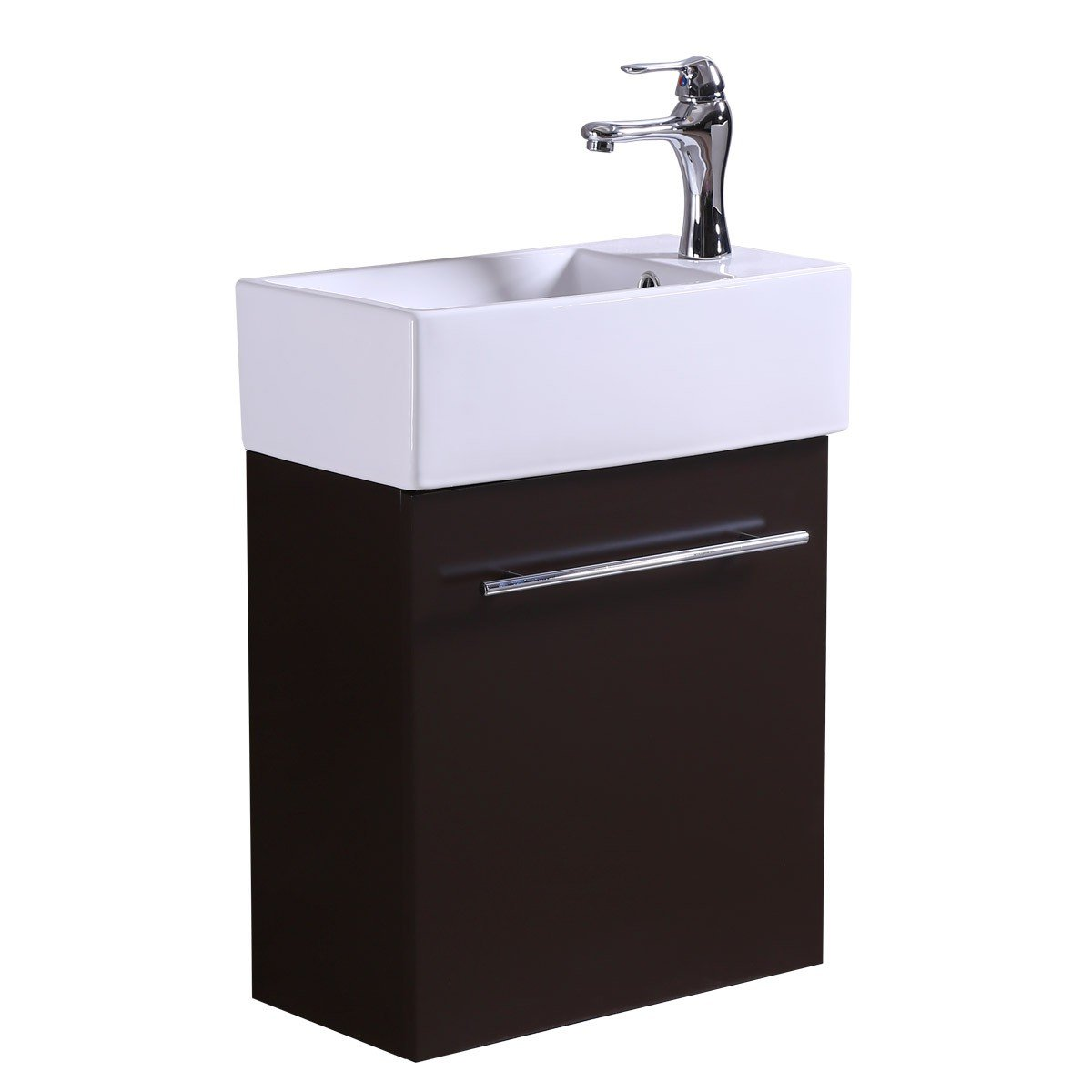 Small Wall Mount Bathroom Cabinet Vanity Sink White China Sink-Vessel With Overflow On Brown Cabinet And Towel Bar, Single Hole Faucet And Drain Included Space Saving Compact Rectangle Design by Renovator's Supply