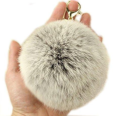 Viawow Natural Color Rabbit Fur Soft Fluffy Ball Charm Pom Pom Key Ring Chain Keychain - Pendant for Car Key, Handbag, Tote, Back Pack or Purse (Gray)